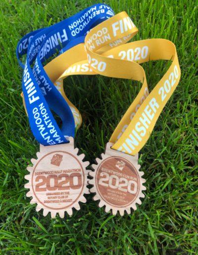 Brentwood Half Marathon wooden medals